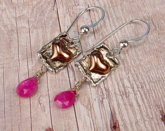 PETITE HEART - Tiny Heart Earrings with Pink Sapphire
