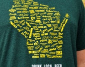 Drink Local Wisconsin Beer - T-shirt Unisex (Forest green and gold)
