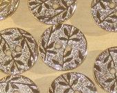 "pretty VINE floral design Set 11 metal SILVER vtg new fancy buttons 21mm 13/16"""
