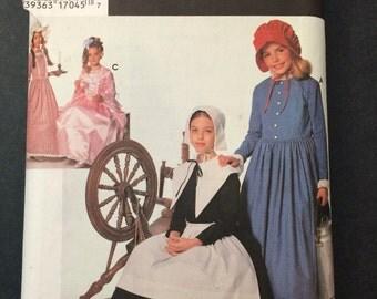 Puritan Pilgrim Centennial and 18th and 19th Century Costume Pattern - Simplicity 9708 Children Sizes S,M,L