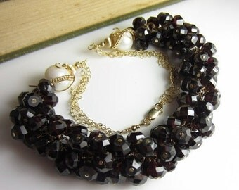 SALE The Lady in Garnet Necklace - Deep Red Garnet and Freshwater Pearl in 14k Gold Fill