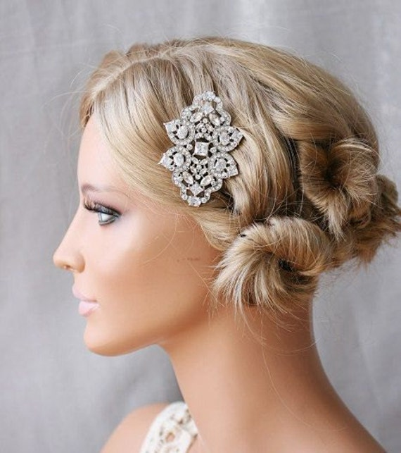 Art Deco, Crystal Embellished, Hair Slide, Diamante, Bridal Headpiece, Bridal Hair Comb,