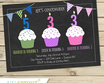 Sibling Triple Birthday Party Invitation- Cupcake and Chalkboard- 3 child birthday invitation - three kids invitation birthday - Printable