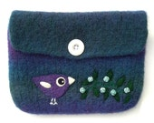 Felted bag pouch purse bag hand knit needle felted blue violet wool purple bird birdie roses