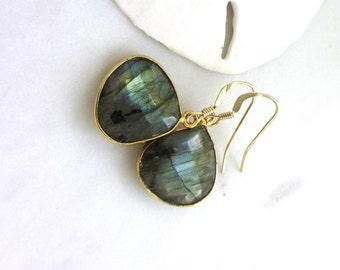 Labradorite Earrings, Grey Gemstone Earrings, Natural Labradorite, Minimalist Earrings, Gemstone Dangle Earrings, Gold Earrings,  Imogen