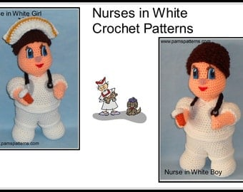 Nurses in White, crochet nurses patterns, crochet nurse doll, crochet pill bottle