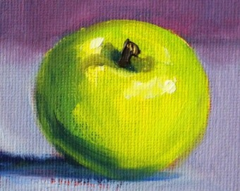 Little Green Apple, Still Life Oil Painting, Original Fruit Art, Small 3x3 Canvas, Miniature Kitchen Decor, Lavender Purple, TIny Minimalist