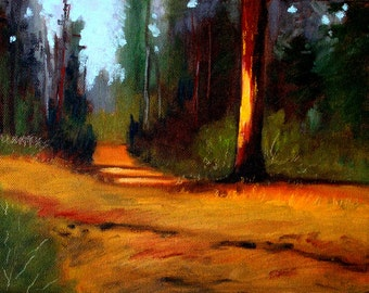 Forest Landscape Oil Painting, Evergreen Trail, Rural Northwest, 8x10 Stretched Canvas, Pine Fir Trees, Green Brown, Wall Decor, Rural Scene