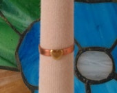 Copper Ring with Brass Heart Size 8