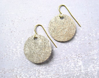 Papyrus Coin earrings - gold painted papyrus paper round disks & gold plated metal hook earrings