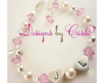 Initials for girls and baby on this beautiful Christening Bracelet, Baptism First Communion Bracelet