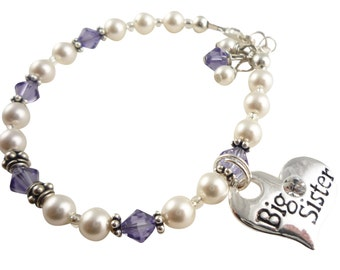 Swarovski pearl Big Sister or Little Sister Bracelet-crystal tanzanite & white- or any color- silver heart charm gift for girls