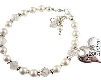 Big Sister Bracelet - Custom charm, Swarovski Pearls & Crystals