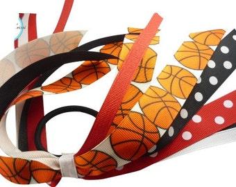 Hair Bow Basketball- Ponytail Holder bow- Orange Black Ponytail Holder Streamer Ribbon.  Made in your team colors