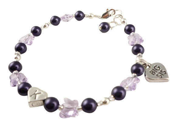 Purple Crystal Butterfly Big Sister Bracelet - choose colors, size, initial