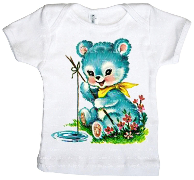 Fishing baby bear shirt blue cute animal graphic top infant for Baby fishing shirts