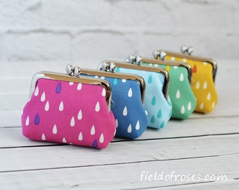 Set of 5 Small Frame Coin Purses Modern Raindrop Rosary Case Earbud Case Earbud Holder Clasp Change Purse