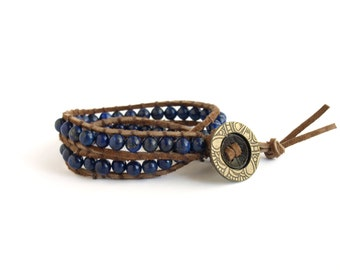 Blue Lapis Lazuli Double Wrap Suede Bracelet - The Mwigulu