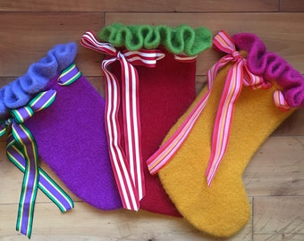 felted wool Christmas stocking made to order in any color combination