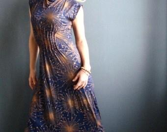 New Star - iheartfink Handmade Hand Printed Womens Metallic Starburst Art Print Wearable Art Jersey Maxi Dress