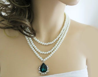Wedding Pearl Necklace, Statement Bridal Necklace with Green Drop Pendant, Emerald Wedding Jewelry, Vintage Inspired Crystal Rhinestone