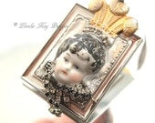Little Princess Ornament Rhinestone Assemblage Art Doll Ornament Exchange Gift Piece One-of-a-Kind Mixed