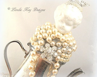 Pearl Art Doll Functional Teapot  Silver Shabby  Assemblage Art Doll  One-of-a-kind Mixed Media Sculpture