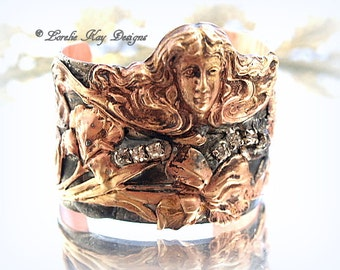 Art Nouveau Copper & Brass Cuff Soldered Wide Woman Rhinestone Statement Cuff Lorelie Kay Original