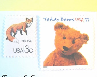 Child Postage Stamps Teddy Bear - Chipmunk - Fox , Mail 10 Baby Shower Invites, Birth Announcements, or 2017 Birthday Cards, 49 cents 1 oz
