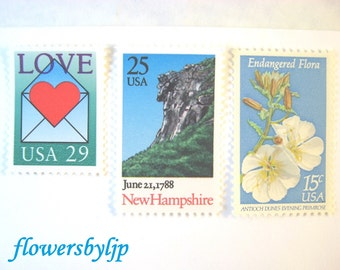 New Hampshire Wedding Postage Stamps, Love Heart Stamp, Old Man in Mountain, Wildflower, Mail 20 Wedding Invites 2 oz, 68 cents blue postage