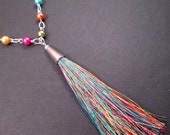 Tassel Necklace, Rainbow Tassel Pendant, Pearl Beaded Silver Chain Necklace, FREE Shipping U.S.