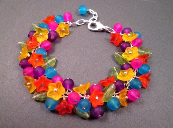 Flower Charm Bracelet, Frosty Rainbow Bouquet, Colorful and Silver Charm Bracelet, FREE Shipping U.S.