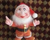 SALE Vintage Christmas ornament Doc Disney 7 Dwarfs Snow White in Santa suit flocked plastic