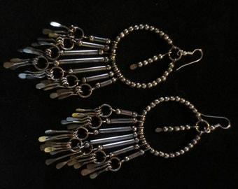 """Gypsy Boho Earrings Very Long 5"""" Aged Silver Beaded Duster"""