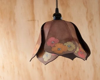 Pendant Light - Leather Lamp in the Poppy Garden Pattern - Flowers in Mahogany