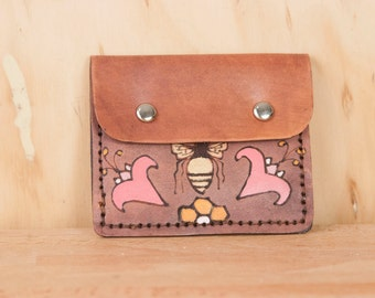 Front Pocket Wallet - Leather in the Meadow Pattern with Bees and Flowers - Pink, gold and antique mahogany