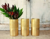 Ombre gold glitter vase, set of 3 gold vases for wedding centerpices, wide mouth gold vase, gold wedding table decor, bouquet vase