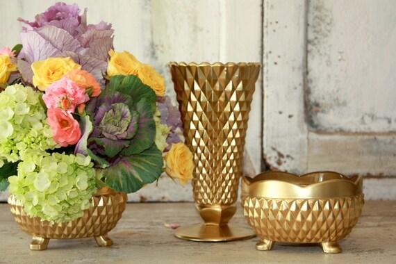 Gold pedestal vase centerpiece set of vintage