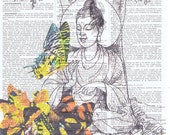 Art.Buddha.meditate.yoga.Butterflies,Gift,Repurposed,altered Book Pages Prints.home decor,mixed media,Buy 3 get 1 FREE,French.peace and love