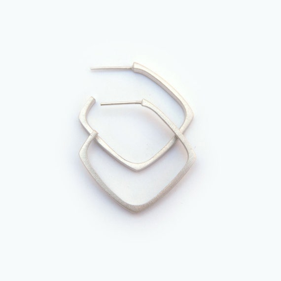 Modern Square Large Satin Finish Sterling Silver Earring Hoop
