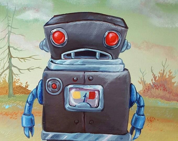 Joyless Gray Robot - Original painting by Mr Hooper of Nashville Tennessee