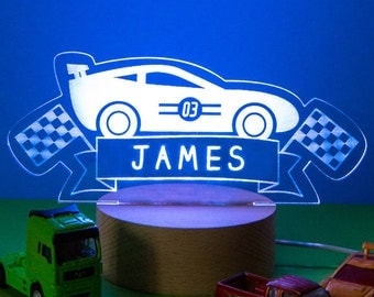 PRE-ORDER Personalised Racing Car Children's Night Light