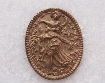 Antique Early 1900s Victorian Patina Brass Stamping or Cameo Art Nouveau Woman - 37mmx29mm
