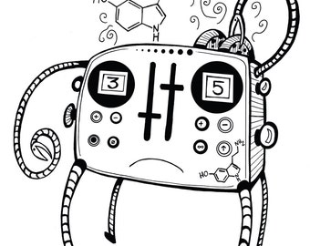Coloring Art Print Robot #11 Serontoaster 11x17 Poster Art For You To Color and Frame with FREE Markers