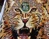 Mother JAGUAR woven recycled cotton Heirloom ART BLANKET gorgeous visionary art for your home