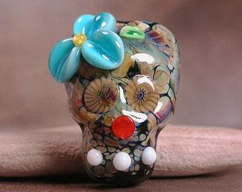 Sugar Skull Bead Lampwork Focal Day of the Dead Black with Raku Divine Spark Designs SRA