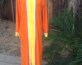 Vintage 70s orange and yellow terry cloth caftan dress ~ lounge wear ~ robe ~ hippie