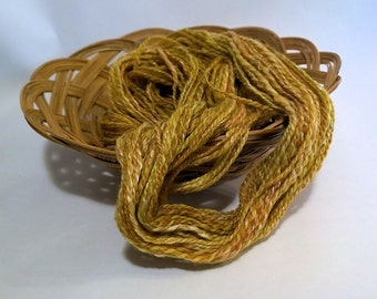 SALE Lime and Coconut, handspun wool and silk yarn, 34 g/106 yds