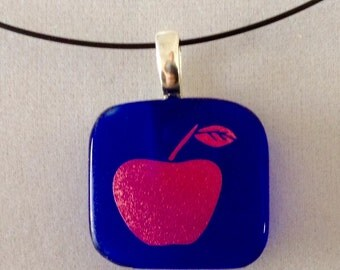 Small Red Dichroic Apple Pendant Necklace