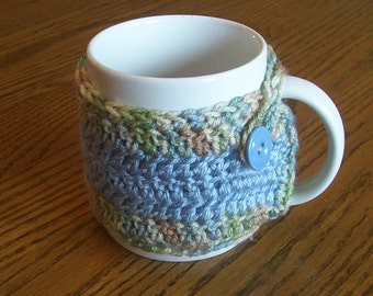 Crocheted Light Blue and Varigated Coffee Mug Cozy